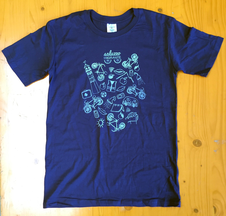 blu Magliette saluzzo migrante serigrafia valeria cardetti